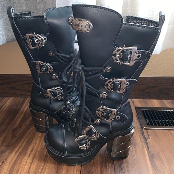 Demonia Sinister Black Boot Punk Gothic
